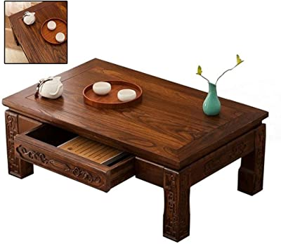 Antique Tatami Coffee Table Solid Wood Bay Window Table Kang Table Old Elm Kang Table Japanese Style Low Table Home Simple Small Table Guoxue Table (Color : Brown, Size : 60 * 40 * 30cm)