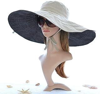 夏の女性ビッグブリムハット日焼け止め日焼け止めビーチ屋外日焼け止め紫外線シーサイド防風屋外リビング帽子(色:B)