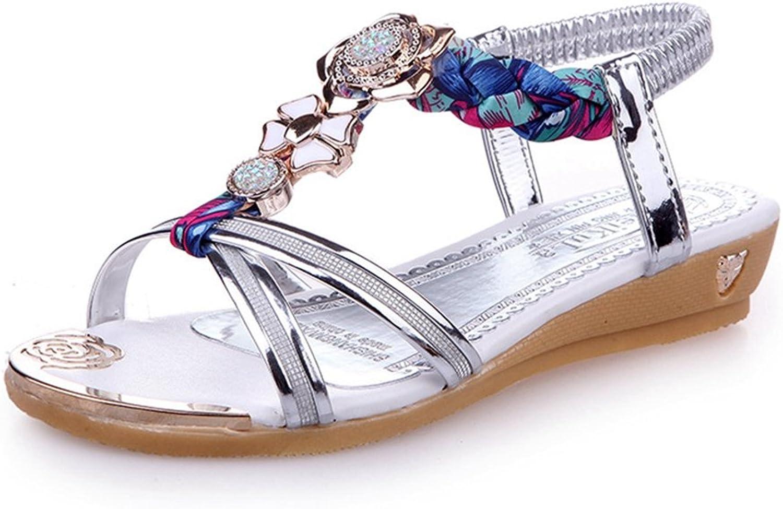 Womens Ladies Fashion Bohemia Diamond Flat Elastic T-Strap Slide Sandals Walking Slip on Comfy Dressy Sandals