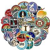 BLOUR Paquete de 50 Pegatinas Retro de Viaje Espacial, Pegatina de avión, Impermeable, DIY para teléfono portátil, monopatín, Maleta, Pegatina para Equipaje