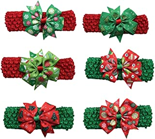 Christmas Merry Wishes 6Pcs Cute Baby Girls Turban Christmas Headbands Hair Clips Colorful Cotton Cloth Hair Wraps BowKnot...