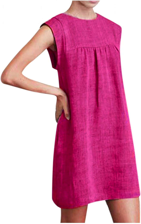 Xinantime Women's Sleeveless Turtleneck Dress Cotton Pure Color Loose Mini Dress Ladies Casual Pleated Knee-Length Skirt