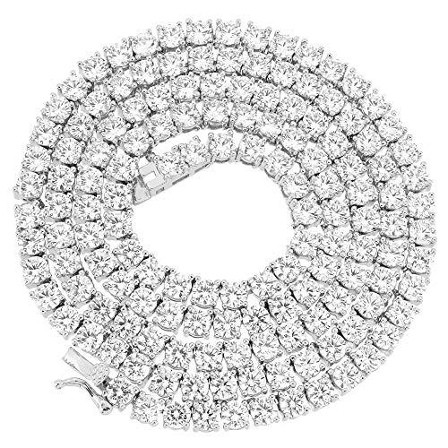 Collana Girocollo in Oro Bianco 14 ct, 1 Fila di Diamanti da 4 mm, solitari Iced out da 45,7-61 cm