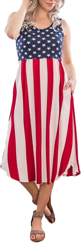 Elapsy Womens Sleeveless American Flag Print Casual Midi Tank Dress with Pocket