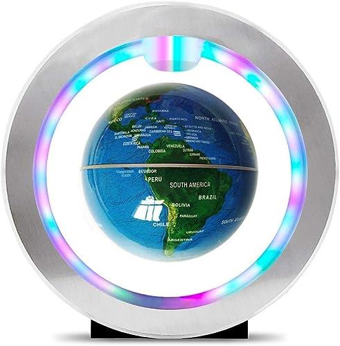 Büros Home Schlafzimmer Dekoration 4 Zoll Floating Globe mit LED-Leuchten O-Typ Magnetschwebebahn Rotierende Weltkarte für Home Desk Dekoration, Geographie-Bildung Erwachsenes Kinddesktopspielzeug
