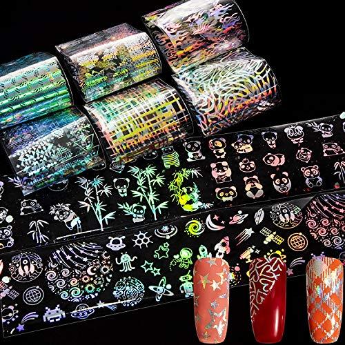 28 Blätter Laser Nagel Kunst Folie Aufkleber Holographische Flamme Transfer Aufkleber Laser Gradient Wraps Nail Art Aufkleber für DIY Nagel Kunst Maniküre Dekoration