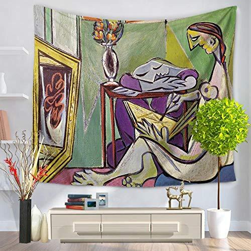 XIAOBAOZIGT Tapicería Hippie Extracto De Época Europeo Colgante De Pared Pintor Impresión Digital 3D Manta para Lanzar Cojín Estera De Yoga Decoración De Dormitorio En Casa 150 × 130 Cm