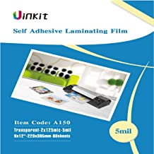 Sticky Laminating Pouches 9x12-60Sheets Backside Adhesive 5Mil Hot Thermal Pouches for Sealed 8.5x11 Inches Photo Uinkit