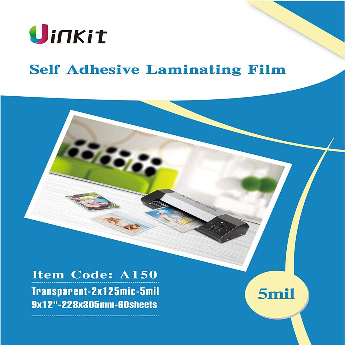 Sticky Hot Thermal Adhesive Laminating Pouches 9x12-60Sheets Backside Sticky 5Mil Pouches for Sealed 8.5x11 Inches Photo Uinkit