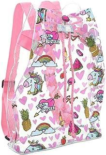Mochila transparente con cordón de unicornio, mochila transparente con cordón, mochila de viaje, mochila de escuela, informal, para mujeres y niñas