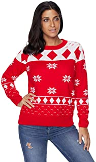 Sceoyche Women Christmas Large Size Round Neck Long Sleeve Pullover Snowflake Sweater