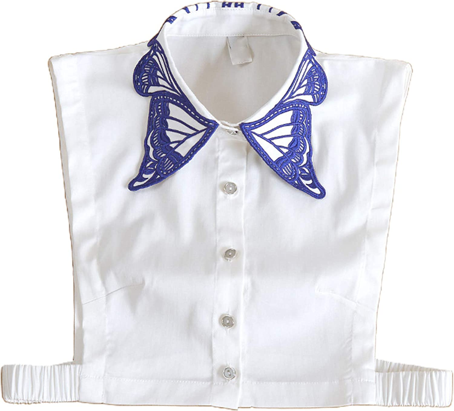 YOUSIKE Detachable Blouse, Women Butterfly Embroidery Lapel False Fake Collar Button Down Detachable Half Blouse Top Dickey Autumn Sweater Decorative Clothing Accessories