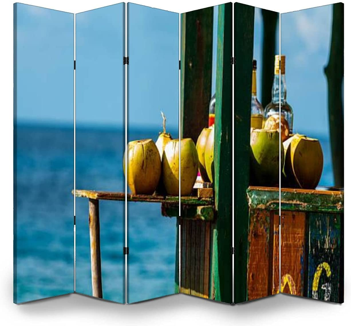 Dola-Dola 6 Luxury Panels Screen Room Divider Large discharge sale in a Bar Coconuts Folding