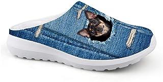 Men's Slippers Mesh Clog Mules Beach Shoes Animal Black Dog Blue Graphic Lightweight Sandals Unisex Adult Flat Shoes Slip ...
