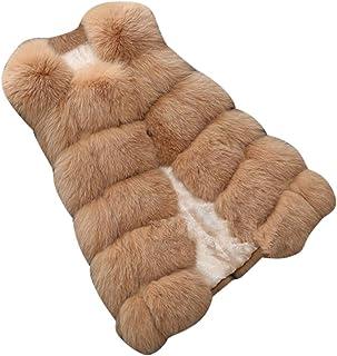 Layer Donna Modello Shaggy Gilet in pelliccia sintetica-Nero Grigio e Beige