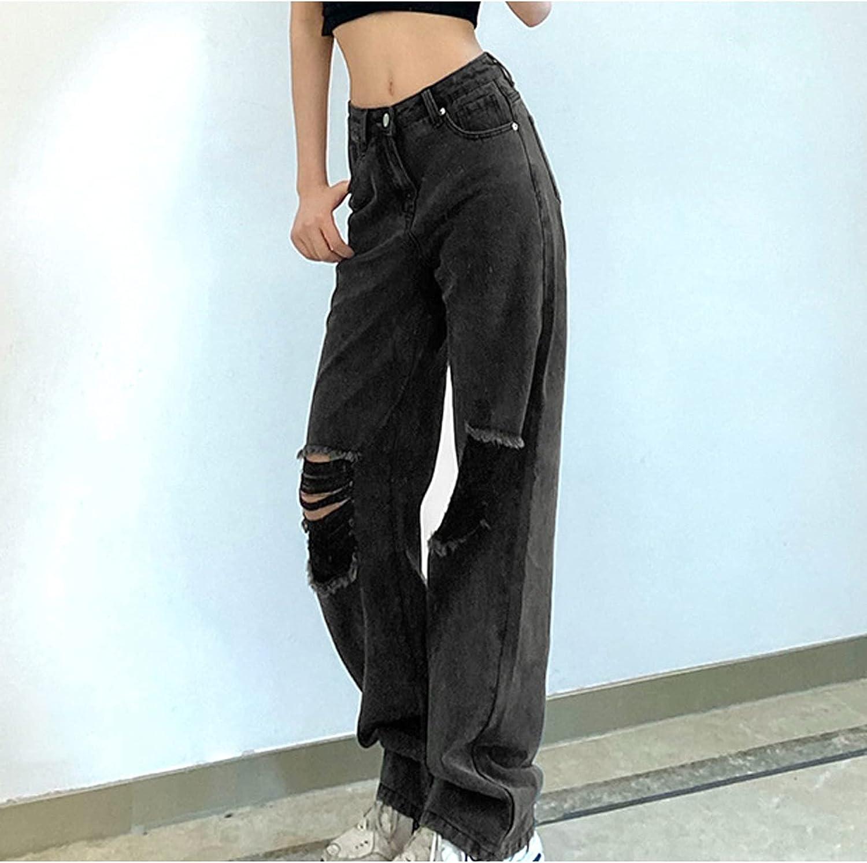 USYY Women's Distressed Ripped Jeans High Waist Casual Hole Denim Pants Loose-Fitting Streetwear Wide Leg Jean