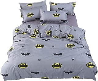 LuDan Batman Fashion Cartoon Style Duvet Cover Set Pillow Cases 800TC Soft Cotton Print Fabric King Set 3pcs Boys Bedding Sets (Batman, King)