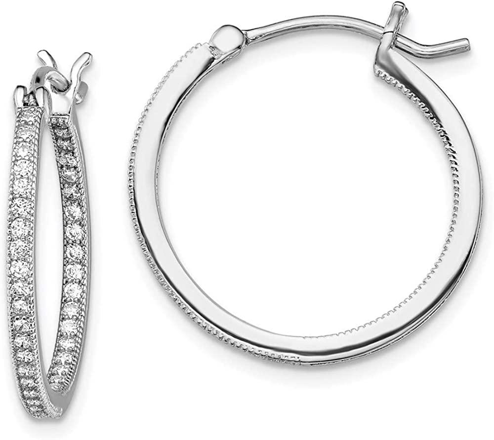 Earrings White Charlotte Mall Sterling Silver In Hoop Out Spring new work Women'S Cubic Pave