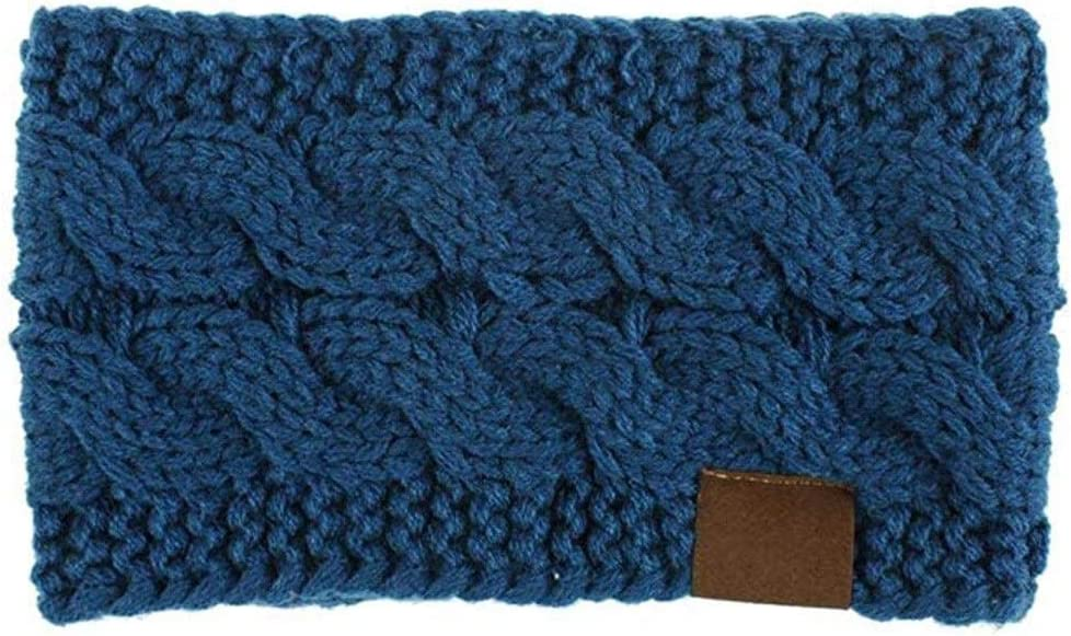 SUOER Fan Women Knitted Headband Winter Warmer Head Wrap Hairband Ladies Crochet Fashion Hair Band Head Wrap Accessories Headwraps #L20 (Color : Navy, Size : One Size)