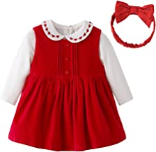 First Birthday Girl Party Dresses Baby Clothing Set Corduroy Dress, Bodysuits and Headband 1st Birthday Outfits (6-9M, Red)