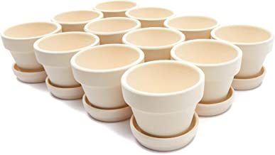 Mini Clay Terra Cotta Pots with Saucers (White, 12 Pack)