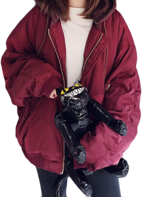 ZimaesWomen Zip Up Mid Length Pocket Splicing Hooded Thicken Outwear Coat