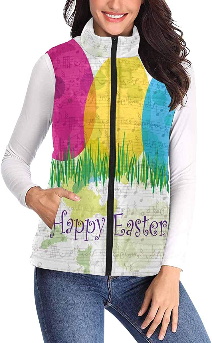 InterestPrint Women's All Over Print Padded Vest with Big Pocket and Zipper Dream Catcher and Feathers
