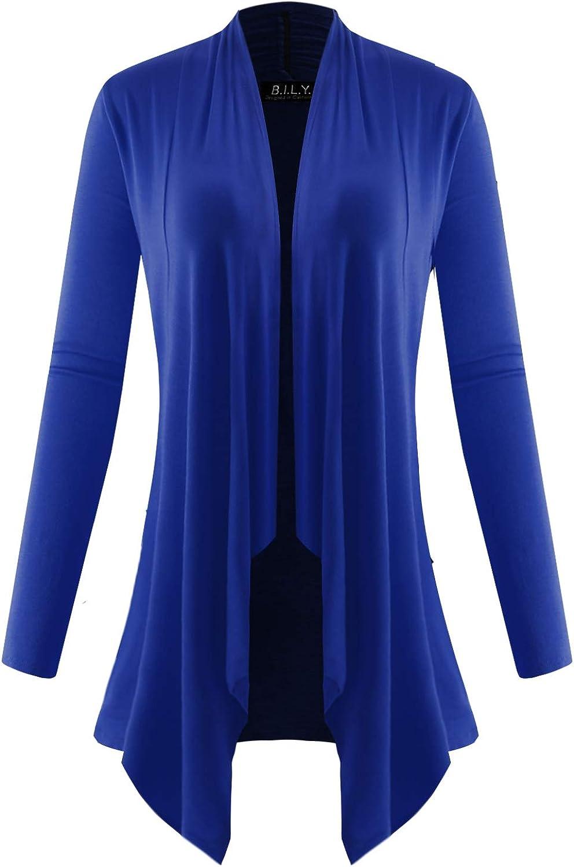 BILY Women's Long Sleeve Draped Open Cardigan with Pockets Royal Large