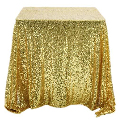Raybre Art® Mantel Cuadrado de Lentejuelas de 120 * 120 cm, Mantel de Banquete de Boda, Adecuado para el hogar, Hotel, cafetería, Boda, Mesa de restaurantes - Dorado