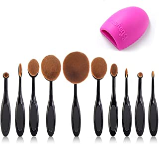 Beauty Kate Pro 10 Pcs Oval Makeup Brush Set Foundation Contour Concealer Blending Cosmetic Brushes +1 Brush Cleaner