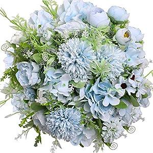 Silk Flower Arrangements Nubry 3pcs Artificial Flowers Bouquet Fake Peony Silk Hydrangea Wildflowers Arrangements with Stems for Wedding Home Centerpieces Decor (Light Blue)