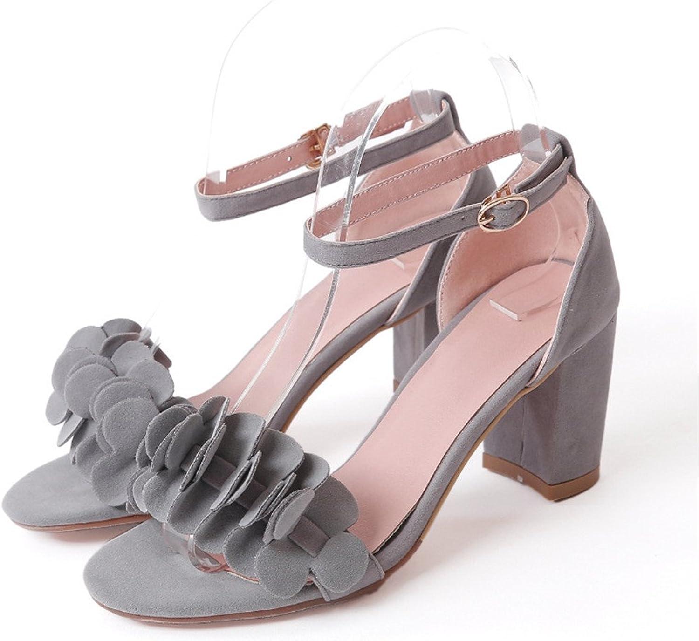 Women's Summer Sandals Fashion Platform shoes Pumps Cute Lace Toe Ankle Flowers Large Size High-Heeled Sandals 34-45