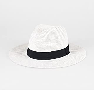 LONGren Sun Hat, Men's Summer Travel Vacation Beach Hat Collapsible Wide Eaves Sun Panama Straw Hat (Color : White)