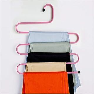 DZSW Pantalon de Rangement de Robe de Rangement en Fer à 5 Couches Cintres de vêtements Scope Saving (Color : Pink)