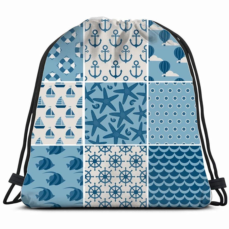 set nine blue marine nature Drawstring Backpack Gym Sack Lightweight Bag Water Resistant Gym Backpack for Women&Men for Sports,Travelling,Hiking,Camping,Shopping Yoga