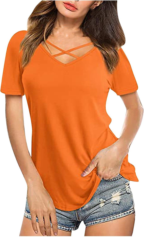 Womens Tops, Women's Criss Cross V Neck Shirt Summer Solid Color Short Sleeve T-Shirt Casual Tops