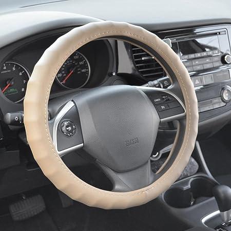 BDK Ergonomic Non-Slip Grip Genuine Leather Car Steering Wheel Cover Tan - Beige//Medium Size 14.5 to 15.5