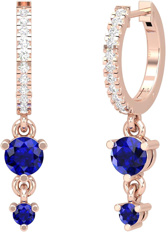 18K Blue Sapphire Hoops, Blue Sapphire Helix Piercing, Tiny Hoop Earrings, Tragus Earring, Tragus Earring, 14K Gold Earrings