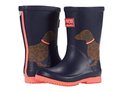 Joules Kids Roll Up Welly (Toddler/Little Kid/Big Kid) (Blue Sausage Dog) Girl