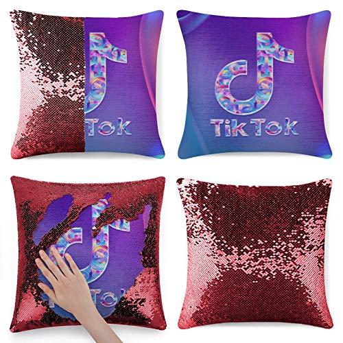 T-ik T-ok - Funda de almohada con lentejuelas para cojín (40,6 x 40,6 cm)