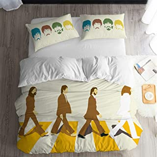 ARL HOME Beatles Bedding 3Pcs Full Size Rock Band Pattern Beatles Duvet Cover Rock Music Theme Bedroom Decor Quilt Cover Rock Music Fan Bed Set (2 Pillow Cases)
