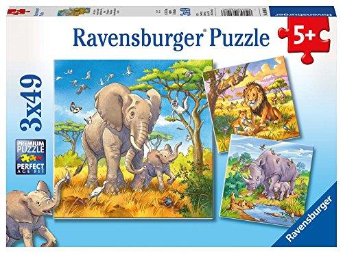 Ravensburger Kinderpuzzle - 08003 Wilde Giganten - Puzzle für Kinder ab 5 Jahren, mit 3x49 Teilen