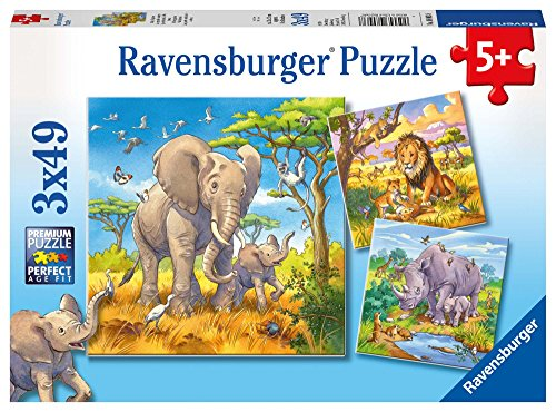 Ravensburger I Grandi Animali della Savana - Puzzle 3x49 Pezzi
