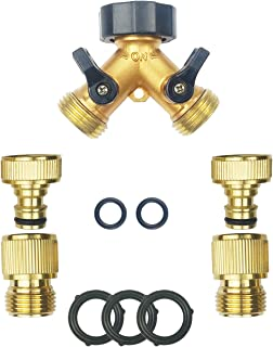 DNT BRO Brass Garden Hose Quick Connect Fittings(2Male2Female)+Brass Hose Y Splitter(2 Way)+5 Extra Washers 3/4