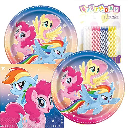 My Little Pony Party Plates and Napkins Serves 16 With Birthday Candles