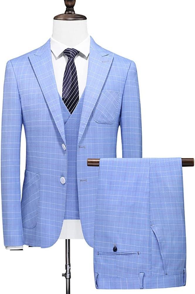 SSMDYLYM Men Suit Set The Groom's Three-Piece Wedding Striped Suit/Man Suit Slim fit(Suit + Vest + Pants) (Color : Blue, Size : 5XL 86-92kg)