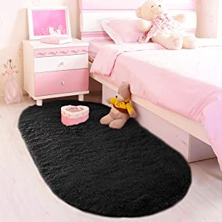 LOCHAS Ultra Soft Children Rugs Room Mat for Kids Bedroom Bedside Modern Shaggy Area Rug Home Decor 2.6' x 5.3', Black