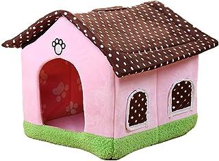 Panjianlin Cama del Animal doméstico Artículos para Mascotas casa de Perro Linda Rosa Gato Basura Espacio Acogedor y Libre...