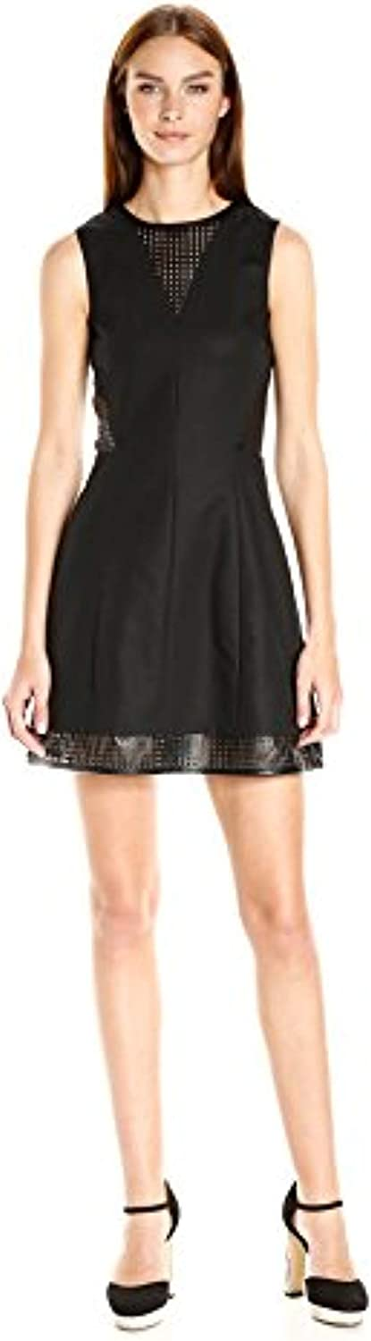 A|X Armani Exchange Women's Sleeveless Fit and Flare Dress with Details