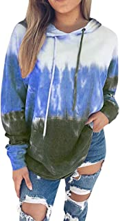 Shusuen Women's Tied Dyed Print Hoodie Gradient Long Sleeve Jacket Blouse for Women